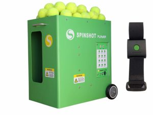 Spinshot Player Tennis Ball Shooter Machine with a Remote Watch Option
