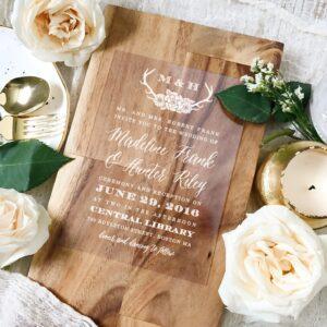 wooden design for wedding cards